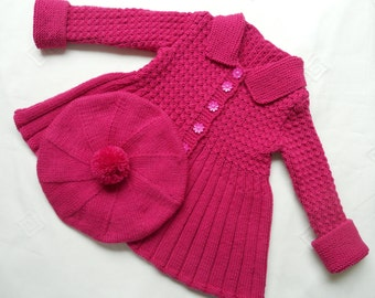 Baby girl's knitted outfit/jacket/coat/cardigan, MADE TO ORDER - optional beret and leggings/pants.Cerise pink, 6-12 months,vintage pattern