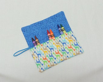 Boys and Girls Crayon Roll Up , Roll up with 6 Crayons Giraffe Fabric Crayon Wallet Small Crayon Rollup Favors for Children