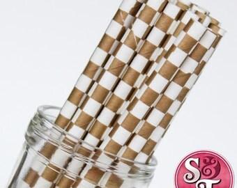 Checkered Gold Metallic Party Paper Straws - Cake Pop Sticks - Pixie Sticks - Qty 25