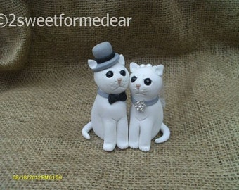 Cat bride and groom wedding cake topper