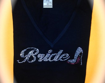 Bride V-neck Shirt. Bride with pink rhinestone shoe. Bride To Be pink and black Shirt. Wedding Shower Gifts. MRS gift. Bride to be T-shirt.