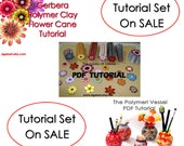 SALE Tutorial Set. Polymer clay tutorial on SALE. Polymer clay cane. Backgroundless flower cane.Polymer clay Sculpture