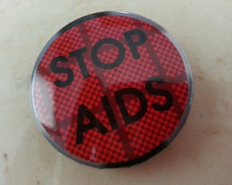Vintage Stop Aids Pin or Button 1980s Red Light Stop Light Graphic