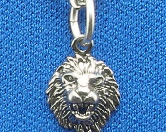 Lion Face Necklace Pendant, Hand Crafted Recycled Sterling Silver, handmade Lion's head