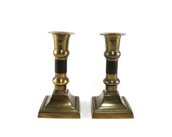 Vintage brass candle holder candlesticks with wood inserts