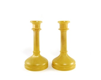 Yellow Glass Candle Holders, set of 2 candlesticks