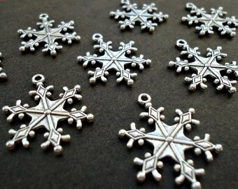 Antique Silver Snowflake Pendants / Charms - 1 Inch Wide - Set of 10 or 25