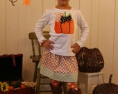 Minky Pumpkin Skirt Set - Fall Thanksgiving Pumpkin Outfit - Infant Toddler Youth Girl Sizes - You Choose Shirt Color