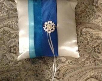 Ring bearer pillow custom made white  or ivory satin