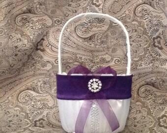 wedding flower girl basket ivory or white color custom made