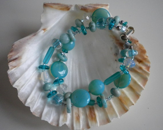 Seafoam Bracelet, Double Strands, Mediterranean Waters, Opalite, Jasper, Florite, Amazonite, Silver Slide Clasp. One of a kind.