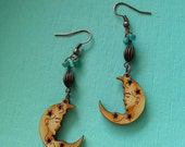 Moon Goddess~Laser Wood Burnished Cooper Dangle Earrings, Celestial Lady