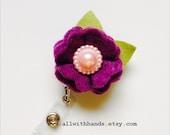 Iris Felt Carnation, Felt Flower Badge Pull, Badge Holder,  Flower Badge Reel, Retractable ID Badge Clips, Nursing Badge, Professional Badge