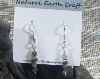 Yellow green prehnite earrings semiprecious stone jewelry packaged in a colorful gift bag 2289