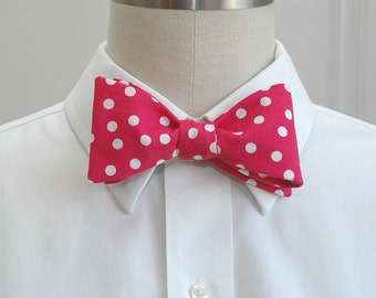 Men's Bow Tie in hot pink with white polka dots (self-tie)
