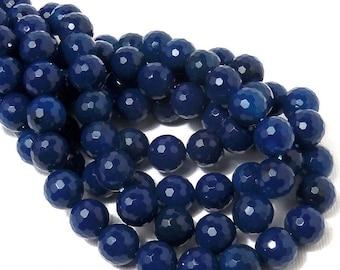 "Blue Agate, 10mm, Dark Blue, Cobalt Blue, Round, Faceted, 10mm, Large, Gemstone Beads, 38pcs, 15"" Full Strand - ID 545"