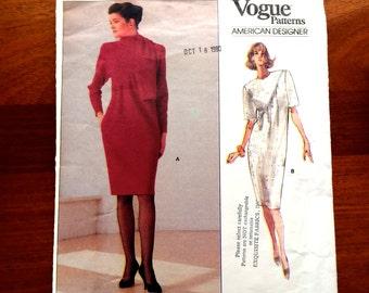 80s Vogue American Designer 2336 Dress Tapered Semi Fitted Oscar de la Renta Size 14 16 18 Bust 36 38 40
