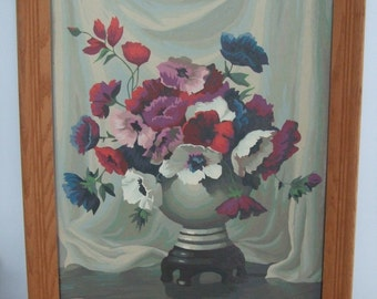 Vintage Framed Poppy Bouquet Paint By Number