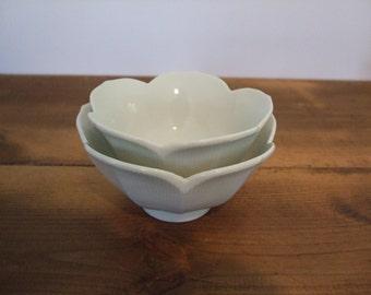 Vintage White Lotus Bowl Pair