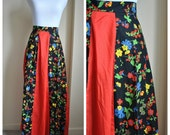 Boho Red Floral Vintage Skirt / Small Maxi Vintage Skirt / Bright Red Floral Long Skirt