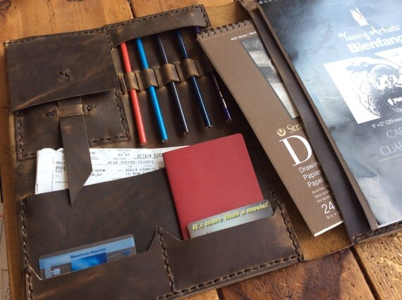 Leather notepad folio executive notebook organizer ipad for Construction organizer notebook