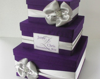 Wedding Gift Box, Card Box for Wedding, Purple Wedding Card Box, Money Holder, Locked Card Box, Box for Wedding cards, Card Holder, Custom