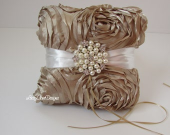 Ring Bearer Pillow Custom Made Champagne Gold Rosette and Pearls