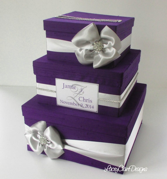 Wedding Reception Gift Card Holder : Wedding Gift Box, Card Box, Money HolderCustom Made, Violet and ...