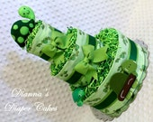 Turtles Baby Diaper Cakes with Handmade Turtle Baby Rattle