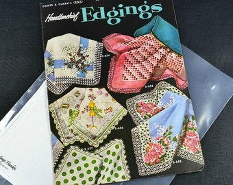 HANKIE EDGING PATTERNS, with White Irish Linen Hankie, Coats Clark 1955 No. 311, Crochet Lace, Handerkerchief 30+ Edgings Mint Condition