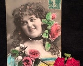 Antique French Real Photo Postcard - Woman with Pink Roses