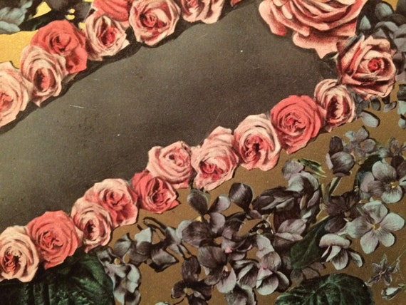 Unusual victorian photo postcard of flowers pink roses for Odd victorian names