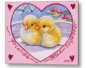 Friendship Print Baby Chicks Washable Wall Art for Children Chicken Decor by Janet Zeh