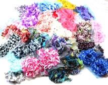 Grab Bag 100 Mixed Shabby Chiffon Trim Flowers  - Wholesale Shabby Chiffon Trim - Shabby Flowers on Sale