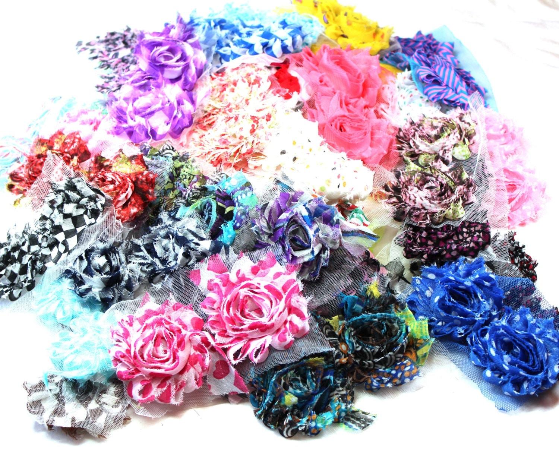 Grab Bag 100 Mixed Shabby Chiffon Trim Flowers Wholesale