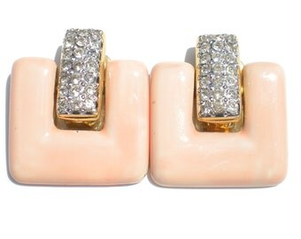 80s Vintage Pink Clip On Earrings Signed Vogue Bijoux with Enamel Square Dangles and White Rhinestone Pave Settings - Vintage Jewelry
