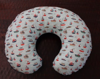 Nautical boppy cover, boppy slipcover, boppy with zipper, boats  boppy cover- Ships today only 1 left
