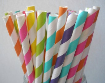 BRIGHT RAINBOW - QTY 25 - Stripe Paper Straws - Paper Party Straws - Girls Birthday - Bold Rainbow - Rainbow Party
