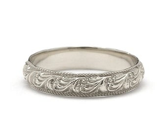 Unique Scrolls Vintage Style Wedding Band in White Gold