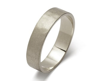 5mm Hammered Pinned Matte Mens White Gold Wedding Band