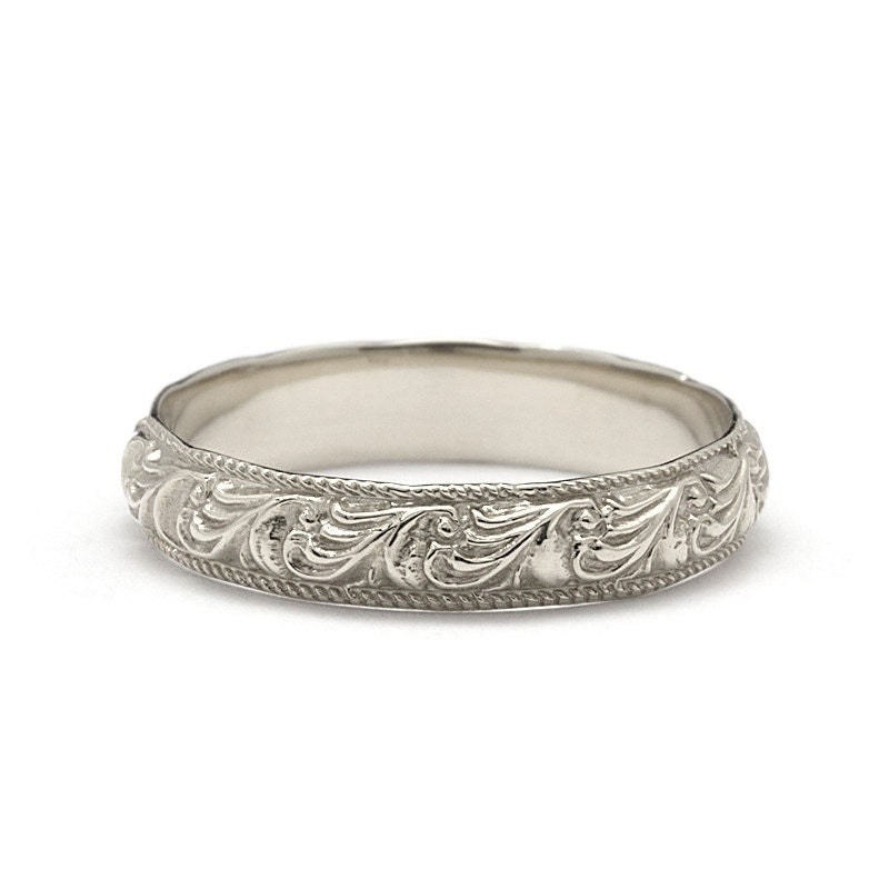 Antique Scroll Bands: Unique Scrolls Vintage Style Wedding Band In White Gold