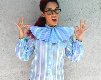 Vintage Office Wear - 80s Secretary Blouse w Ascot Bow Tie - Turquoise, Mint, and Purple Semi Sheer Top by Helen Fabrikant Size 6 S M