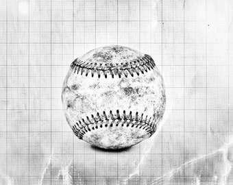 Vintage Baseball Black and White Graph Photo Print, Decorating Ideas, Wall Decor, Wall Art,  Kids Room, Nursery Ideas, Gift Ideas,