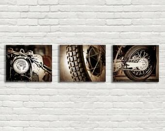 Set of 3 Vintage Motorcycle Parts Closeup Brown Tones, Fine Art Photo Prints, Mod decor, wall art, motorcycle prints, man ca
