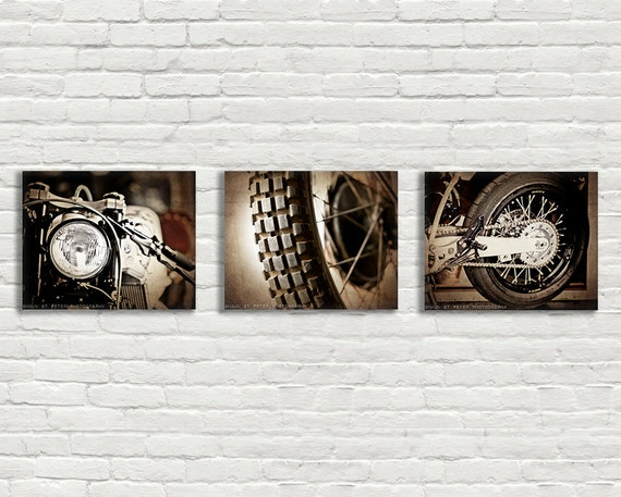 stretched canvas ready to hang set of 3 vintage motorcycle. Black Bedroom Furniture Sets. Home Design Ideas