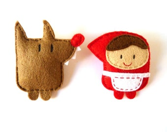 Wolf and Little Red Riding Hood felt brooches set