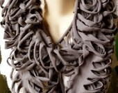 Upcycled T-Shirt Infinity Scarf - Stormcloud Gray - Ribcage Style