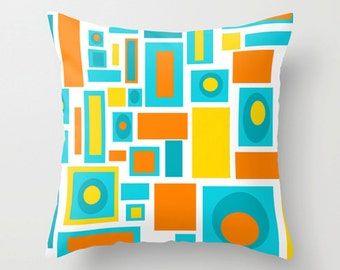 Modern Pillow Cover ,Mid Century Modern Pillow Cover, Cool Pillow Cover, Orange & Turquoise Pillow Cover, Geometric Throw Pillow Cover,
