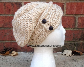 Cabled Button Slouch