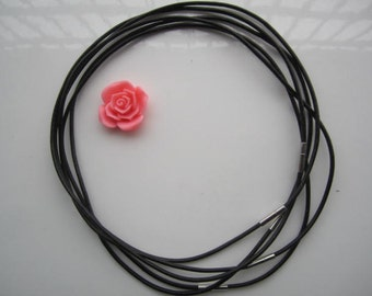 10pcs 18 inch 2mm thickness black genuine leather round choker necklace wires with stainless needle clasps
